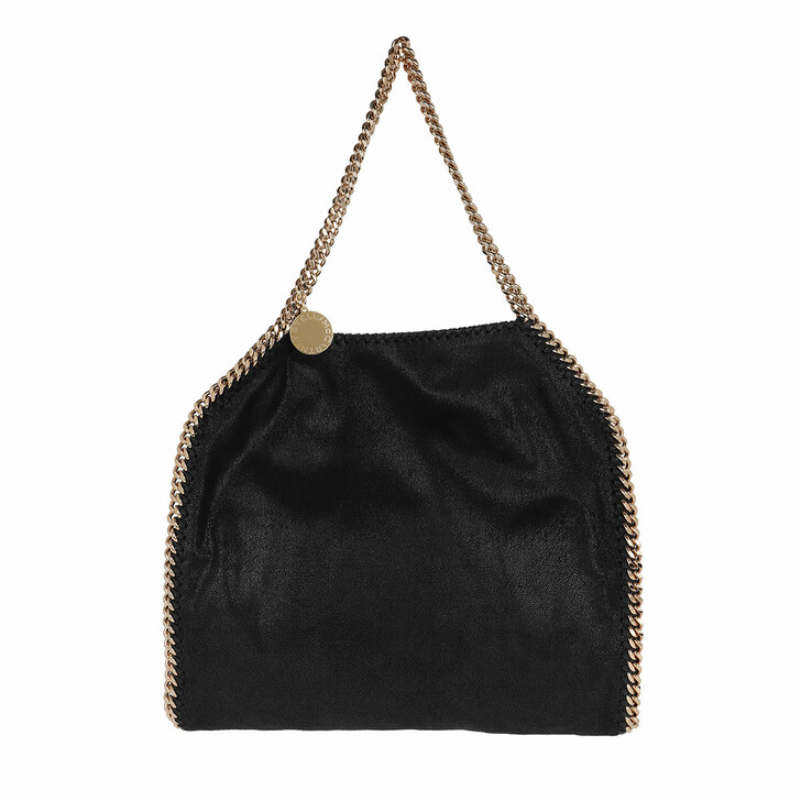 bags, Stella McCartney, Falabella Shaggy Small Tote Bag Black/Gold