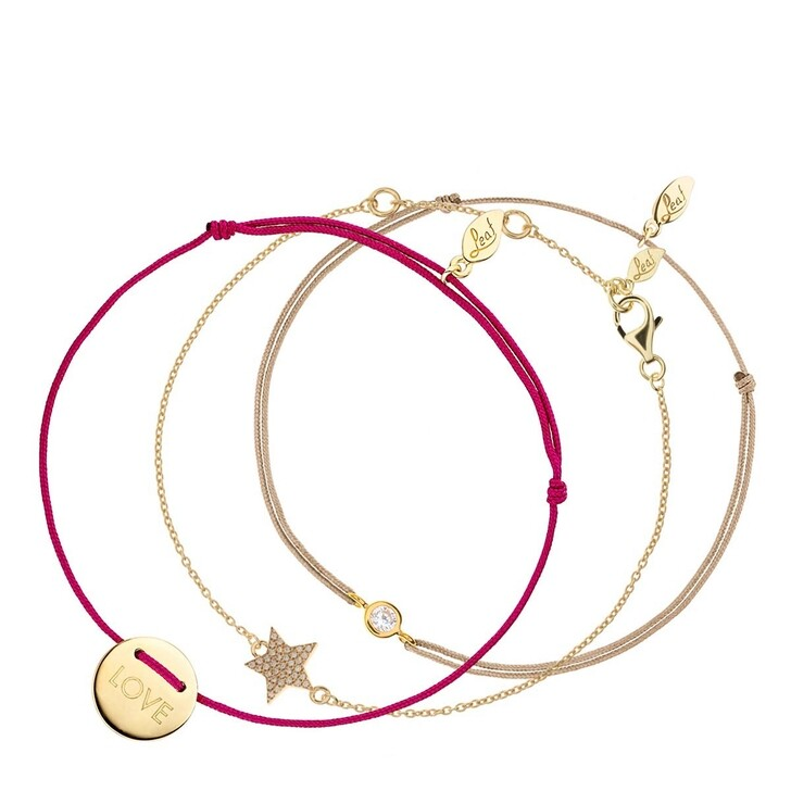 Ohrring, Leaf, Set Bracelet Star with Zirconia Pure and Love Yellow Gold