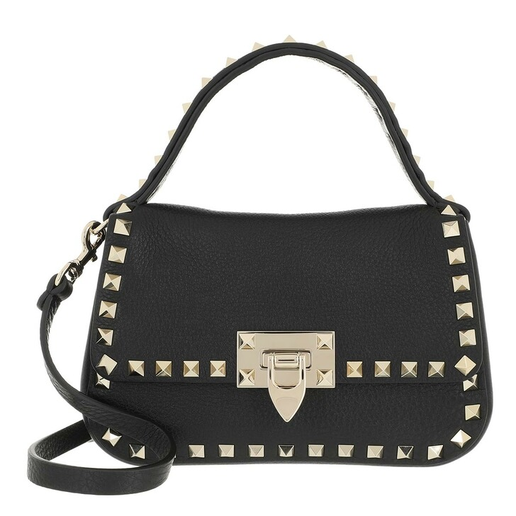 Handtasche, Valentino Garavani, Rockstud Shoulder Bag Leather Black