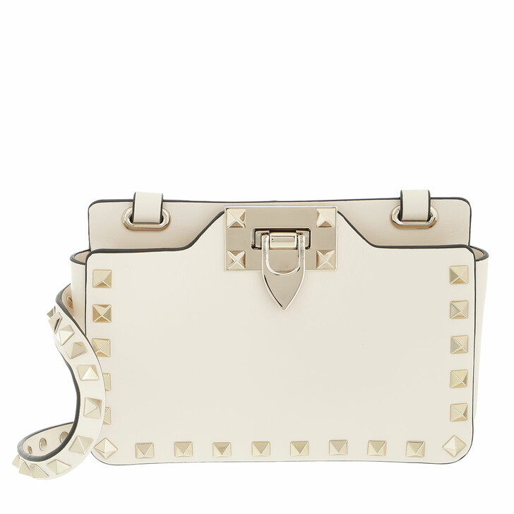 bags, Valentino Garavani, Rockstud Pouch With Shoulder Strap Calfskin Light Ivory