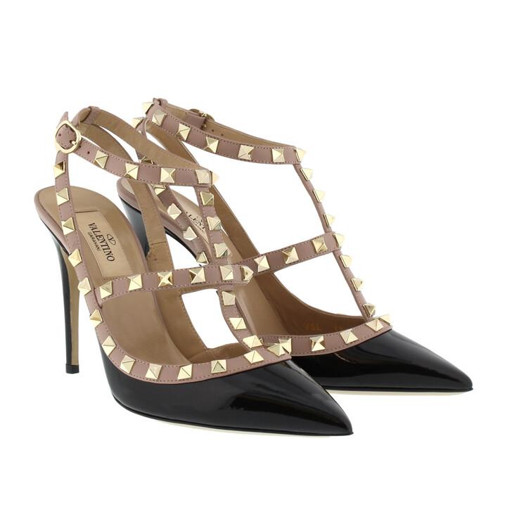 Schuh, Valentino, Rockstud Ankle Strap Nero/Poudre