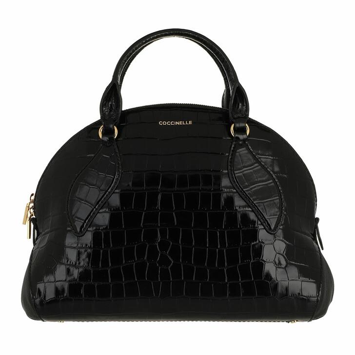 bags, Coccinelle, Colette Croco Shiny Soft Handbag  Noir/Noir