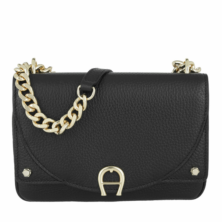 Handtasche, AIGNER, Diadora XS Leather Crossbody Bag Black