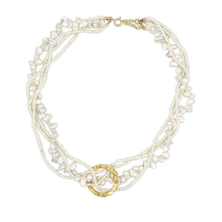 Kette, Hermina Athens, Full Moon Tangled Pearl Necklace Pearl White