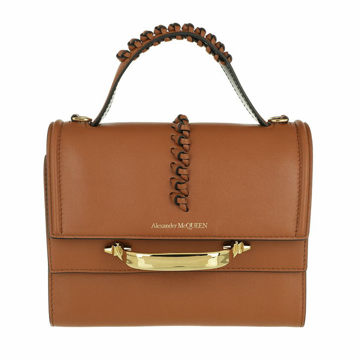 Handtasche, Alexander McQueen, The Story Satchel Bag Leather Cognac