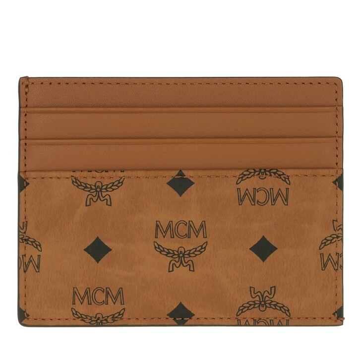 Geldbörse, MCM, Visetos Or New Card Case W/Slit Pkt Mini  Cognac
