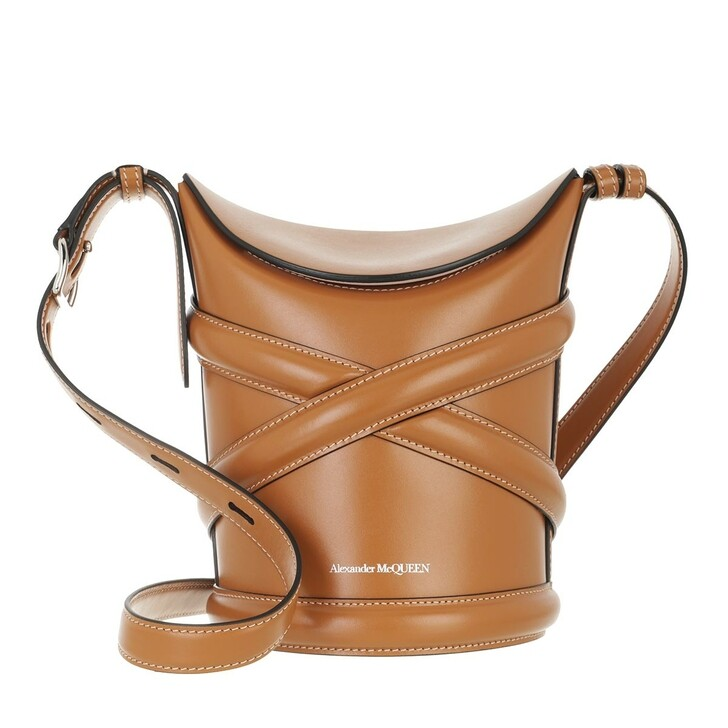 bags, Alexander McQueen, The Curve Bucket Bag Leather Tan