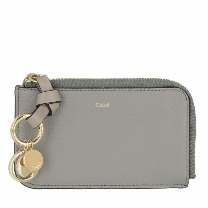 Geldbörse, Chloé, Plain Small Coin Cases Calfskin Cashmere Grey