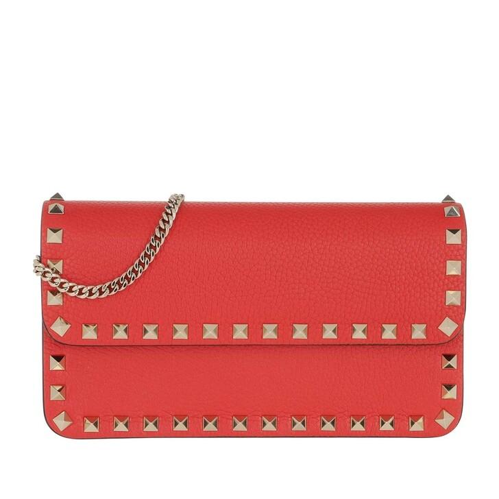 Handtasche, Valentino Garavani, Rockstud Pouch Leather Rouge Pur