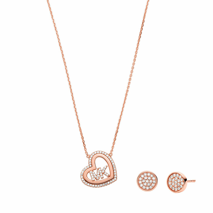 jewelry_sets, Michael Kors, Women's Sterling Silver Necklace and Earring Set M Rose Gold