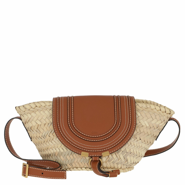 bags, Chloé, Small Marcie Basket Bag Hand-Braided Raffia Tan
