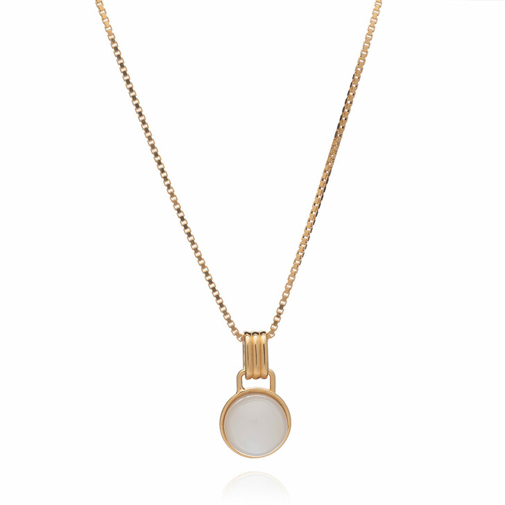 Kette, Rachel Jackson London, Round Mother of Pearl Cabachon Necklace Gold