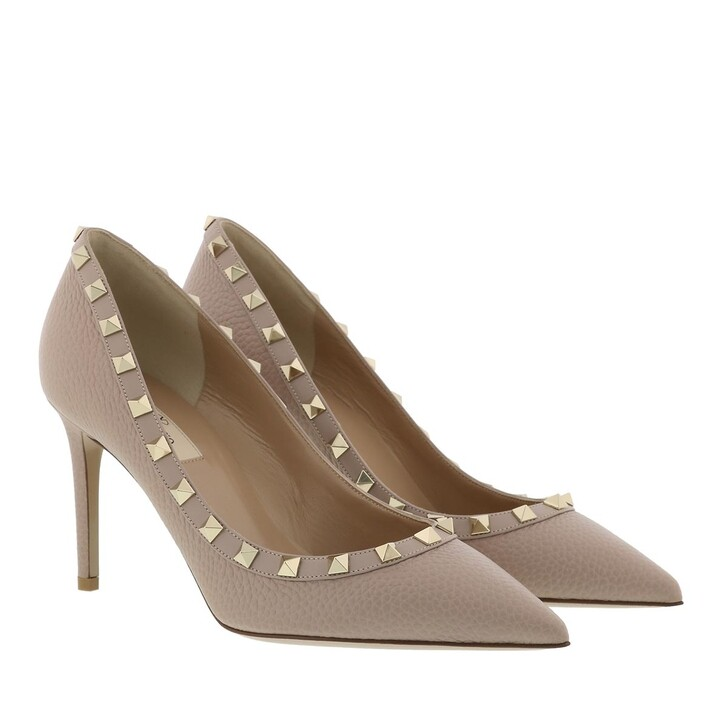 Schuh, Valentino, Studded Rockstud Pumps Leather Poudre