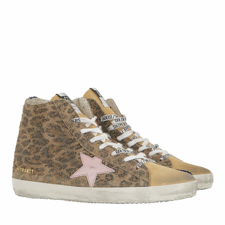 shoes, Golden Goose, Francy High Top Sneakers Leopard Beige Brown/Salmon