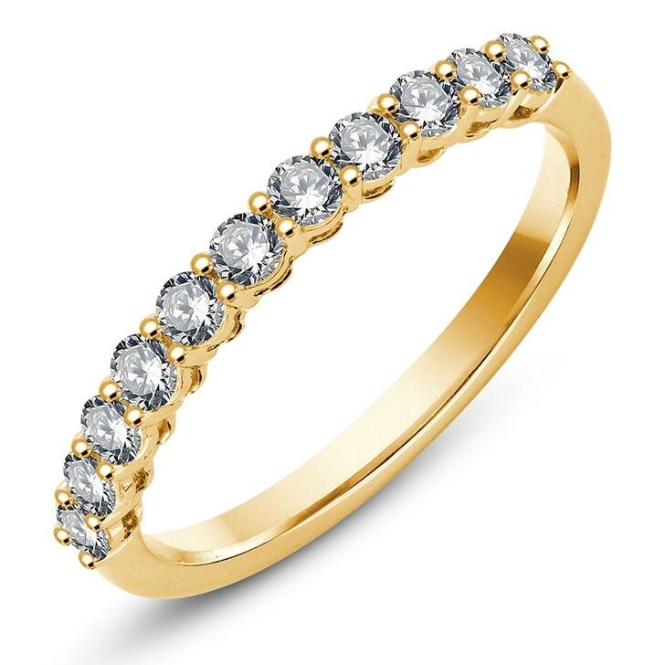 rings, Pukka Berlin, Grand Shared Prong Band Diamond Ring Yellow Gold
