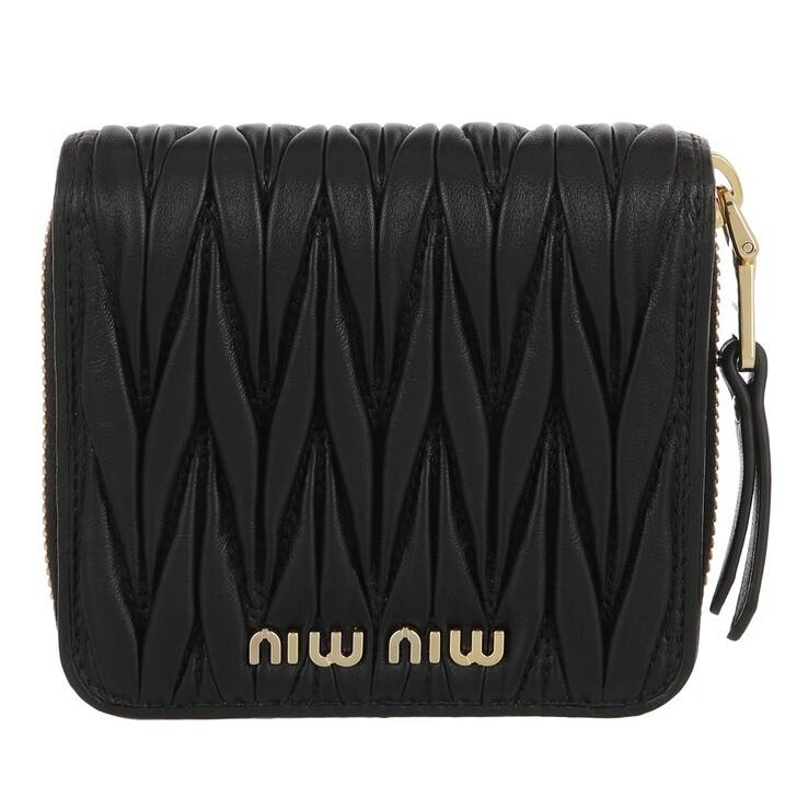 wallets, Miu Miu, Matelassé Wallet Leather Black