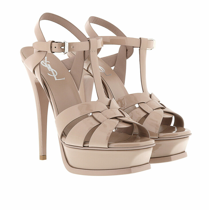 Schuh, Saint Laurent, Patent Tribute Sandals Nude