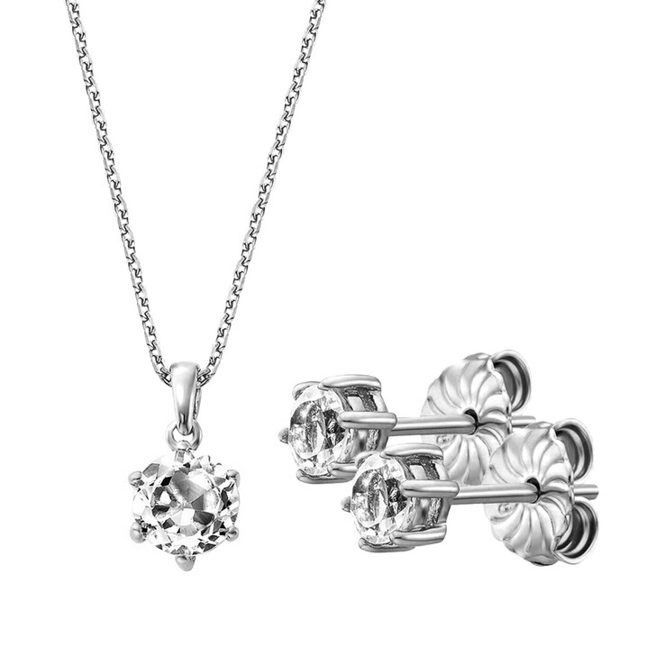 Ohrring, BELORO, Set Necklace And Earring White Topaz  Silver