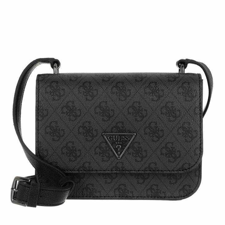 Handtasche, Guess, Noelle Mini Crossbody Flap Coal