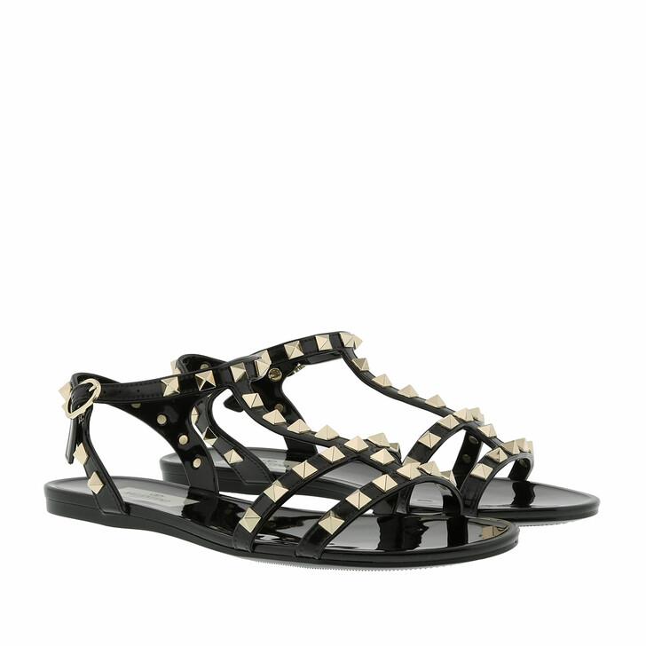 Schuh, Valentino Garavani, Rockstud Flat Sandals Soft PVC Black