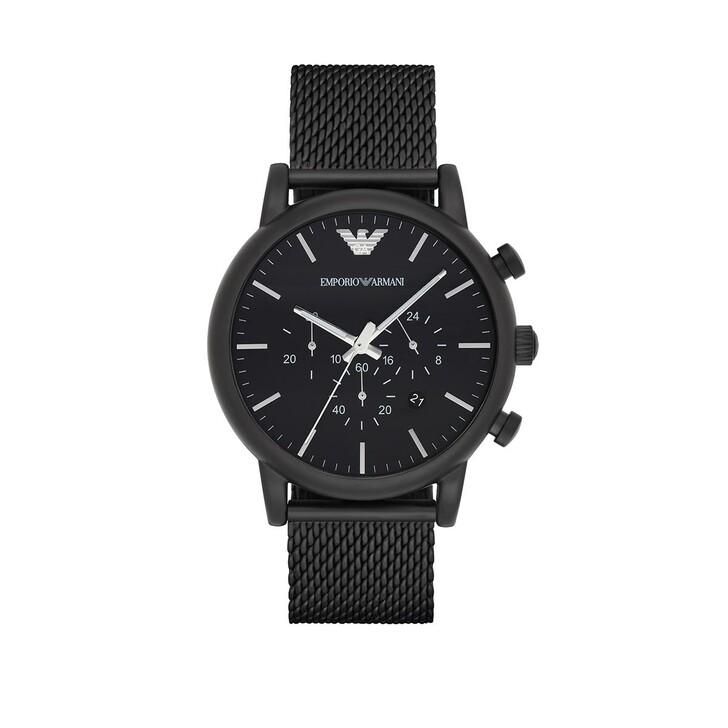 Uhr, Emporio Armani, Chronograph Stainless Steel Mesh Watch Black