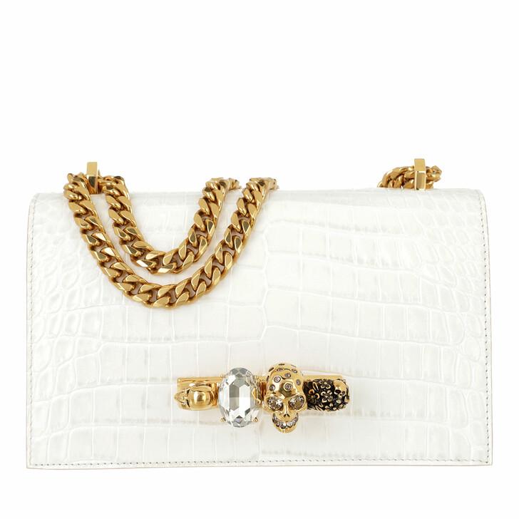 bags, Alexander McQueen, Jewelled Satchel Leather Deep Ivory