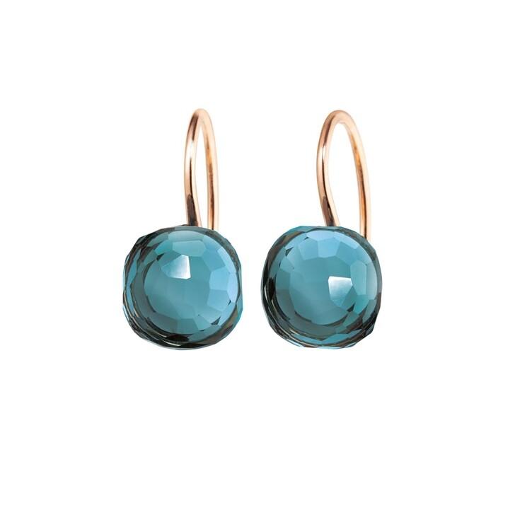 Ohrring, Capolavoro, Earrings Happy Holi Topas London Blue Cabochon Rosegold