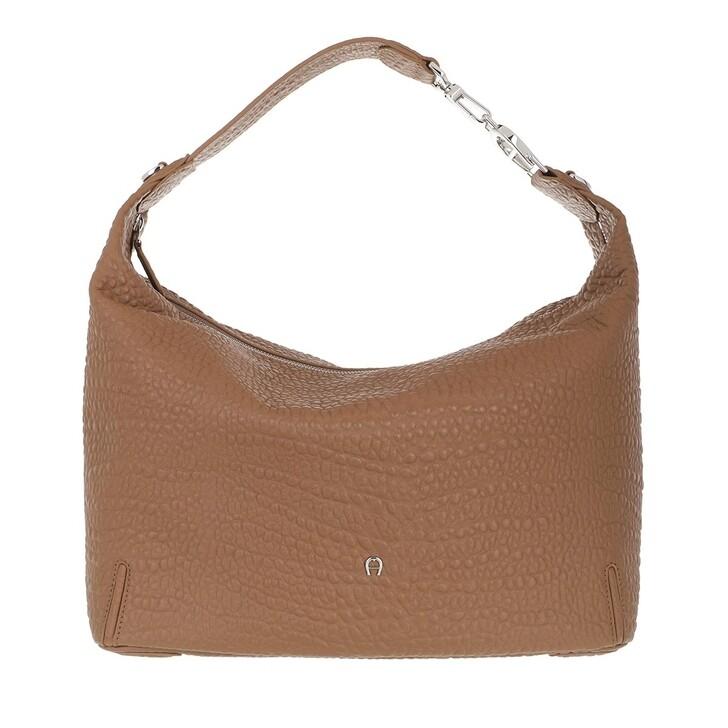 bags, AIGNER, Palermo Hobo Bag Dark Toffee Brown