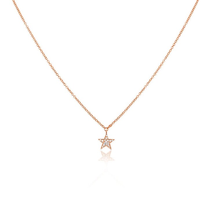 necklaces, Leaf, Necklace Star Diamonds Roségold