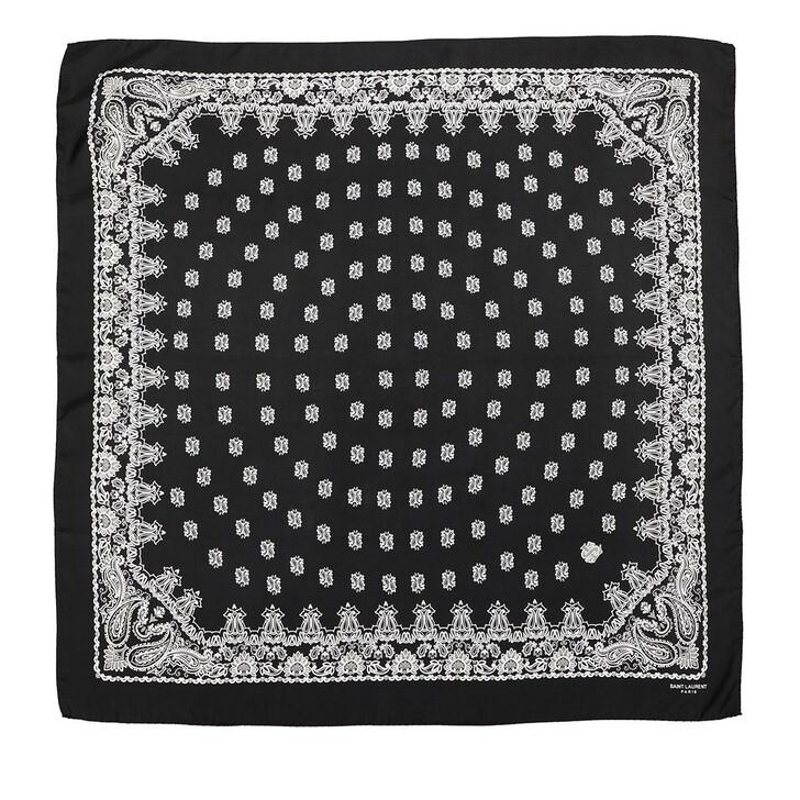 scarves, Saint Laurent, Scarf 90x90 Black Multi