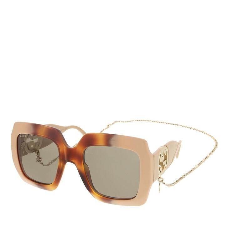 sunglasses, Gucci, GG1022S-003 54 Sunglass Woman Injection Havana-Ivory-Brown