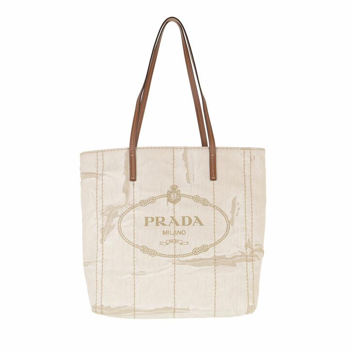 Handtasche, Prada, Printed Medium Tote Bag Naturale Cognac