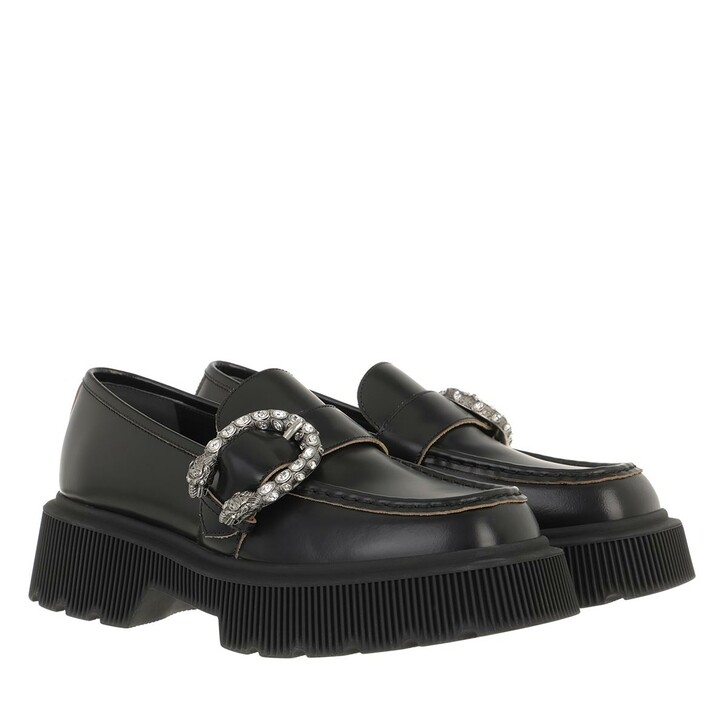 Schuh, Gucci, Tiger Head Loafers Leather Black