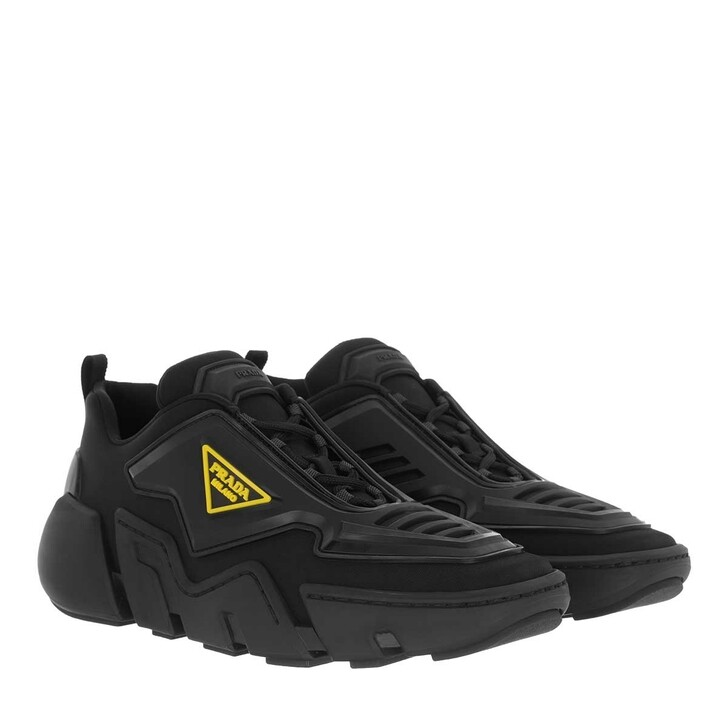 Schuh, Prada, Technical Fabric Sneakers Black Gold
