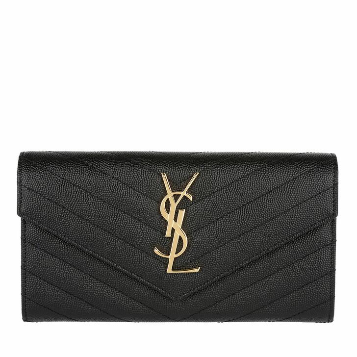 wallets, Saint Laurent, YSL Monogramme Flap Wallet Grain De Poudre Leather Nero