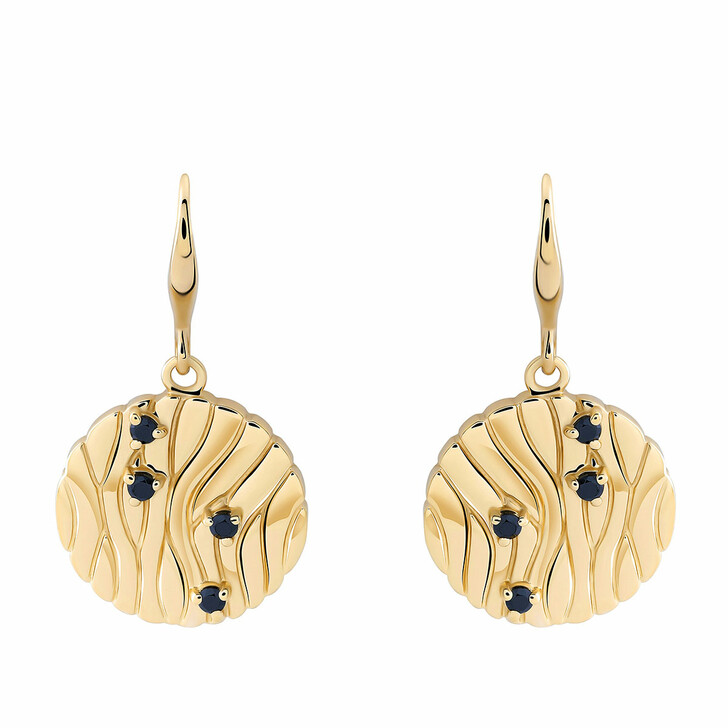 Ohrring, Orphelia, Sterling Silver Earring Black Zirconia Yellow Gold