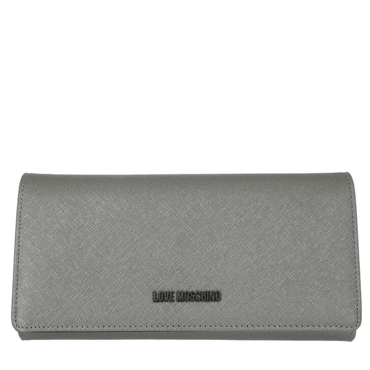 Geldbörse, Love Moschino, Wallet Leather Silver