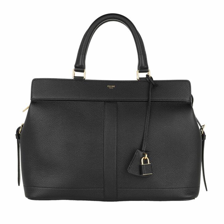 Handtasche, Celine, Medium Cabas De France Handle Bag Leather Black