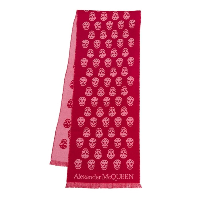 scarves, Alexander McQueen, Skull Scarf Lacquer/Pink