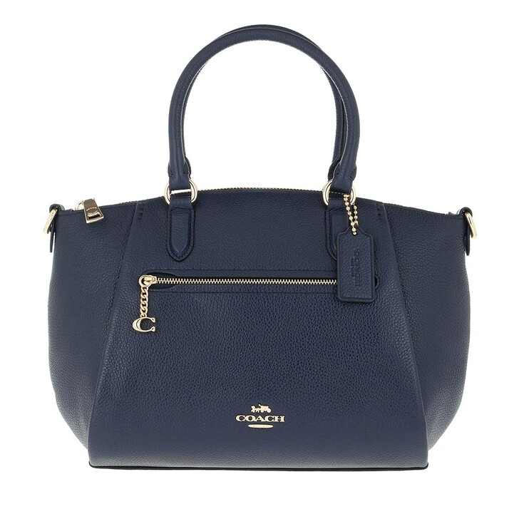 Handtasche, Coach, Polished Pebble Leather Elise Satchel Gd/Midnight Navy