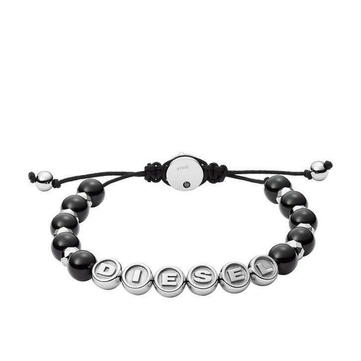Armreif, Diesel, Stainless Steel Semi-Precious Beaded Bracelet Black