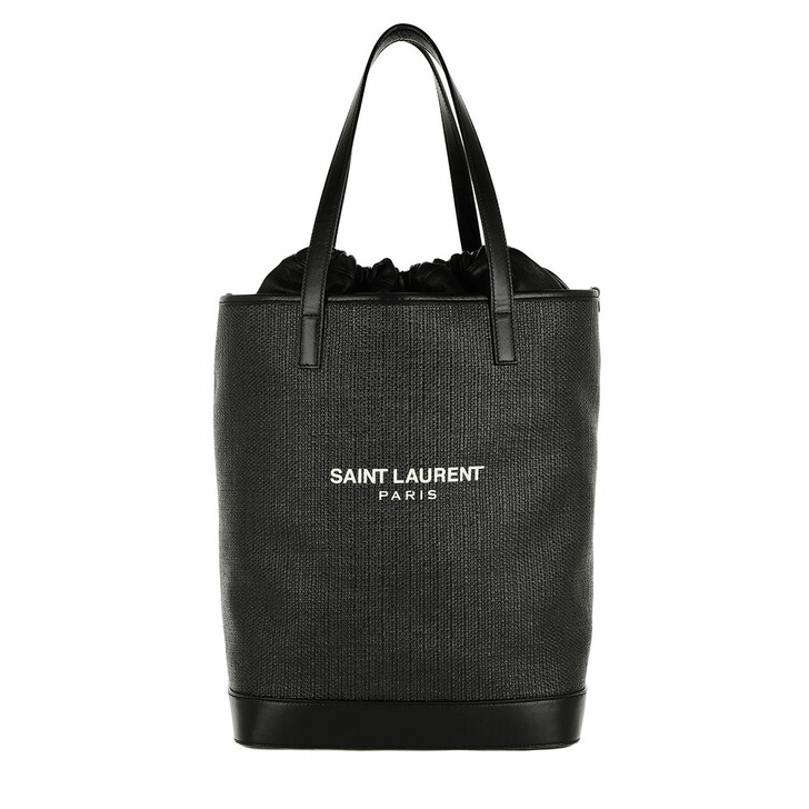 Handtasche, Saint Laurent, Teddy Shopping Bag Raffia Black