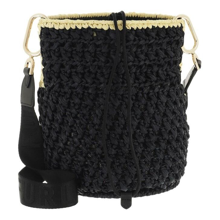 Handtasche, Furla, Furla Lipari M Bucket Bag - Tessuto Rafia Uncinett Nero