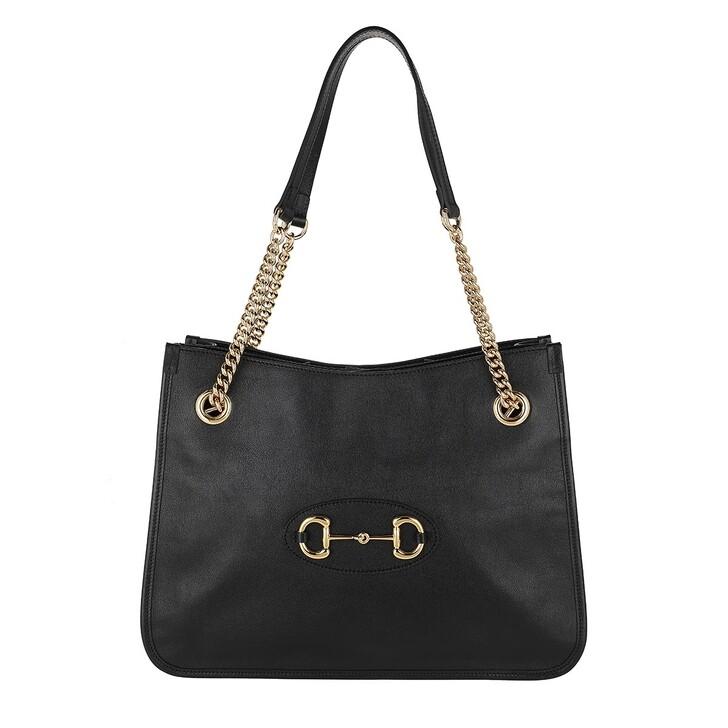 Handtasche, Gucci, Medium Horsebit Shopping Bag Leather Black
