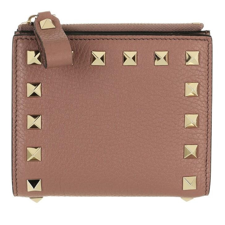 wallets, Valentino Garavani, Rockstud Flap French Compact Wallet Leather Dark Nude
