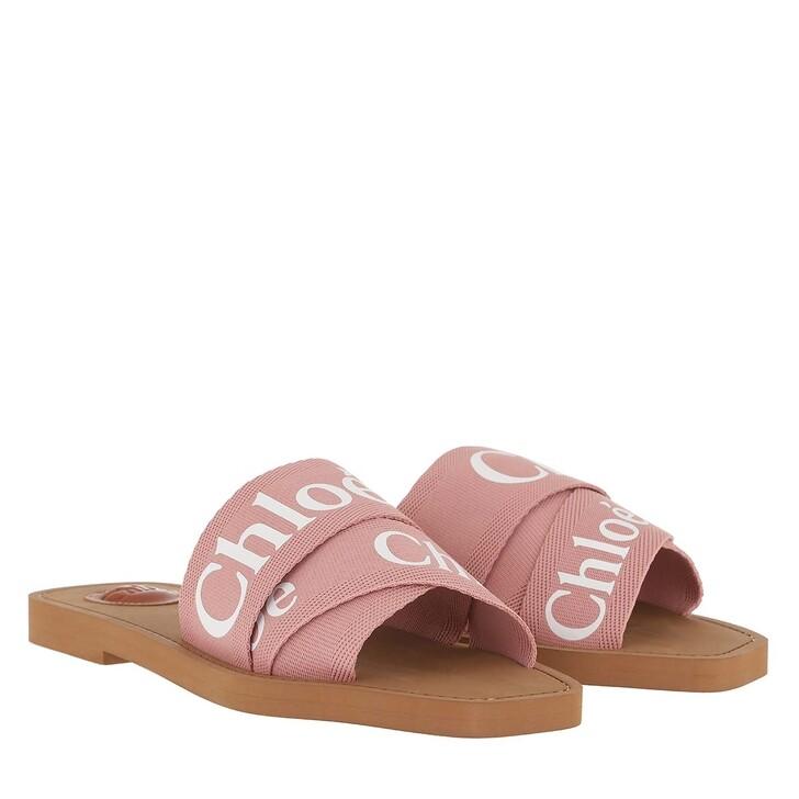 Schuh, Chloé, Chloé Canvas Logo Sandals Delicate Pink