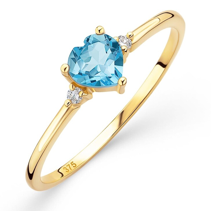 rings, DIAMADA, 9K Ring with Diamond and Topaz Yellow Gold and Blue