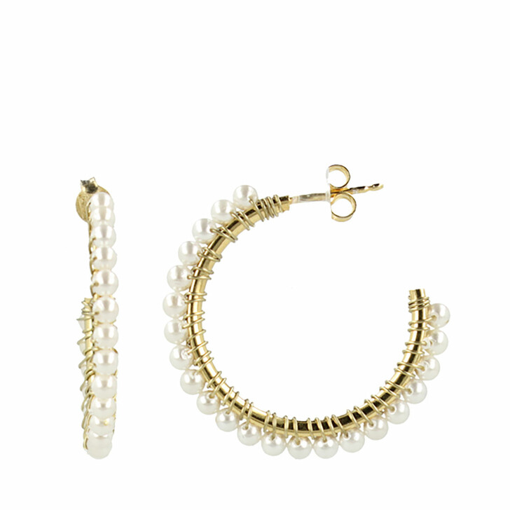 Ohrring, LOTT.gioielli, Classic Earring Hoop With Pearls 3cm White/Gold