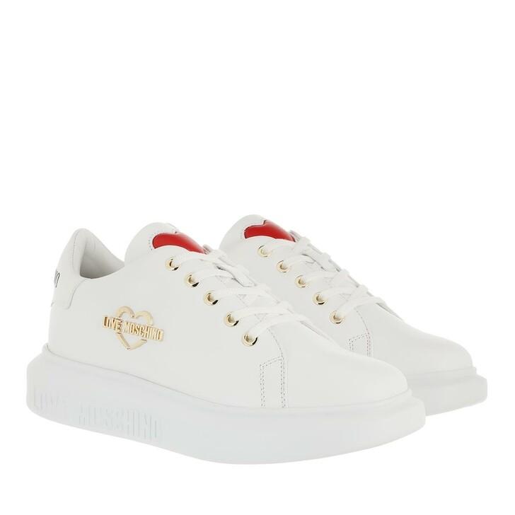 shoes, Love Moschino, Sneakerd Gomma40 Vitello Bianco Bianco