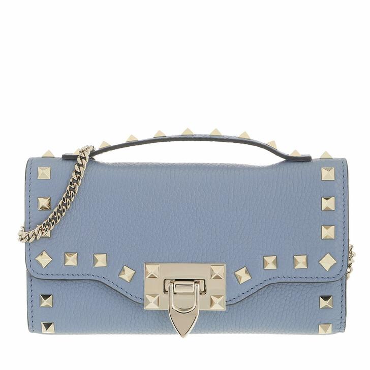 wallets, Valentino Garavani, Rockstud Wallet On Chain Niagara Blue